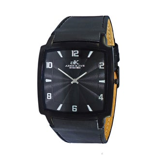 Adee Kaye Men's Black Swiss Quartz Stainless Steel and Leather Watch