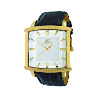 Adee Kaye Beverly Hills Men's Stainless Steel and Leather Classic 2-layer Swiss Quartz Watch