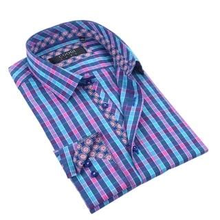 Coogi Mens Light Blue/Pink/Navy Checkered Dress Shirt