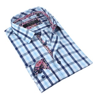 Coogi Luxe White/Blue/Navy Checkered w/Pailsey Trim Mens Dress Shirt