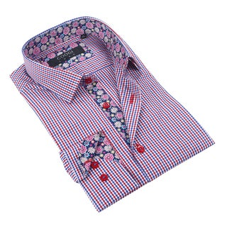 Coogi Luxe Red/White/Blue Checkered Mens Dress Shirt