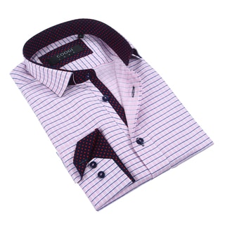 Coogi 100% Cotton Men's Pink/Navy Checkered Dress Shirt