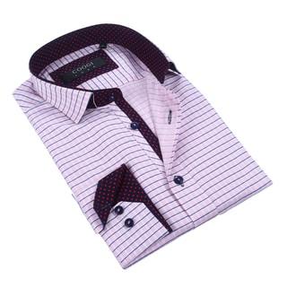Coogi 100% Cotton Men's Pink/Navy Checkered Dress Shirt