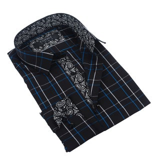 Coogi Luxe Black/Blue Plaid Dress Shirt w/Paisley Trim
