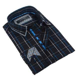 Coogi Luxe Black/Blue Plaid Dress Shirt
