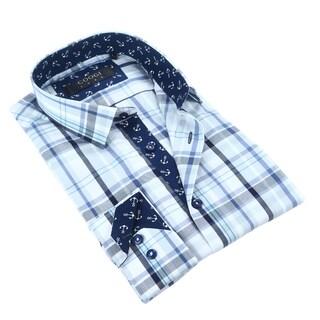 Coogi Luxe 100% Cotton Plaid Dress Shirt w/Navy Anchor Trim
