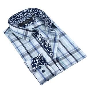 Coogi Luxe 100% Cotton Plaid Dress Shirt w/Navy Geometric Trim