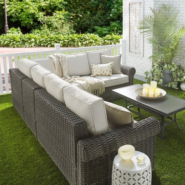 Barbados Wicker Outdoor Cushioned Grey Charcoal Sectional With Rolled Arm  INSPIRE Q Oasis   Free Shipping Today   Overstock.com   19573553