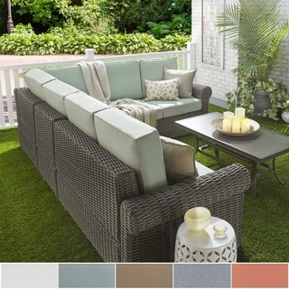 Barbados Wicker Outdoor Cushioned Grey Charcoal Sectional with Rolled Arm by NAPA LIVING