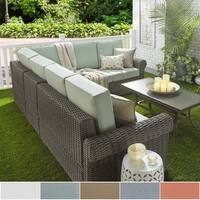 Barbados Wicker Outdoor Cushioned Grey Charcoal Sectional with Rolled Arm iNSPIRE Q Oasis
