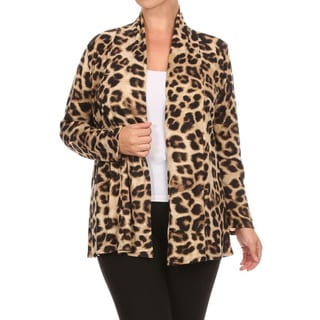 Women's Plus Size Animal Print Cardigan