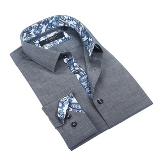 Coogi Luxe 100% Cotton Chambray Dress Shirt w/Paisley Trim