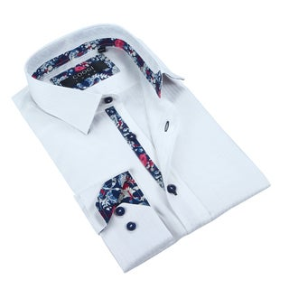 Coogi Mens Solid White w/Floral Trim Dress Shirt