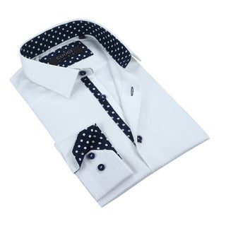 Coogi Mens Solid/Navy White Dress Shirt