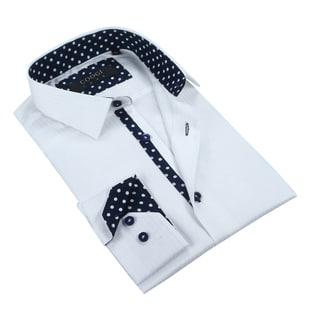 Coogi Mens Solid/Navy White Dress Shirt