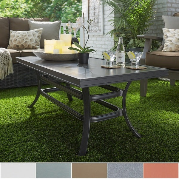 Aluminum Patio Coffee Table: Matira Metal Patio Cushioned Concrete Ottoman Coffee Table