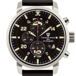 Tschuy-Vogt A15 Crusader Mens Swiss quartz watch, Military inspired design, Sapphire, Superluminova, high grade leather strap,