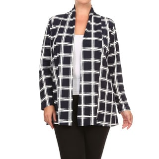 Women's Plus-size Blue/Black Spandex and Polyester Plaid Cardigan