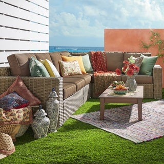 Barbados Mocha Square Arm Wicker Outdoor Cushioned Sectional by iNSPIRE Q Oasis