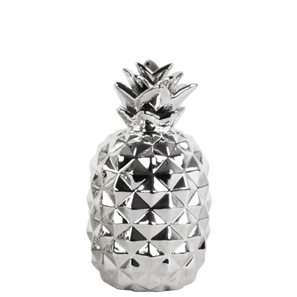 Urban Trends Collection Chrome Ceramic Pineapple Figurine