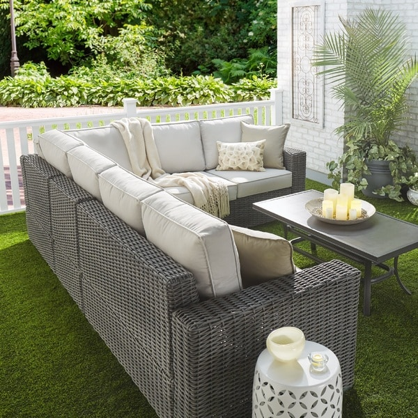 Barbados Wicker Outdoor Cushioned Grey Charcoal Sectional With Square Arm  INSPIRE Q Oasis   Free Shipping Today   Overstock.com   19573556