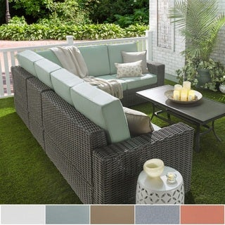 Barbados Wicker Outdoor Cushioned Grey Charcoal Sectional with Square Arm NAPA LIVING