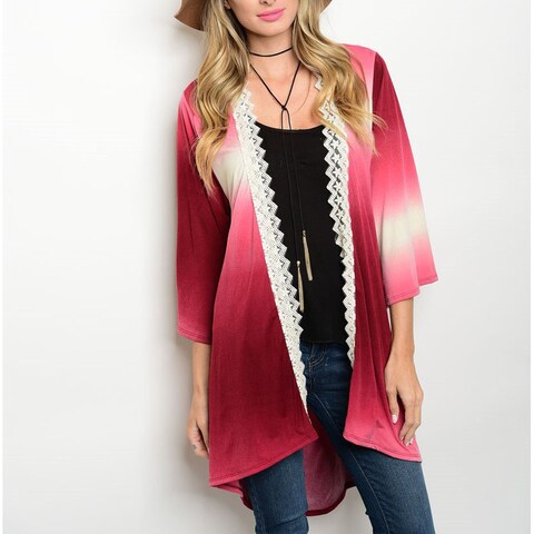 JED Women's Olive/Wine Polyester/Spandex Ombre Quarter-sleeve Lace Trim Tunic Cardigan