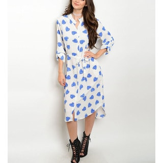JED Women's Blue/Black Polyester Long-sleeve Hearts Print Relax Fit Casual Shirt Dress