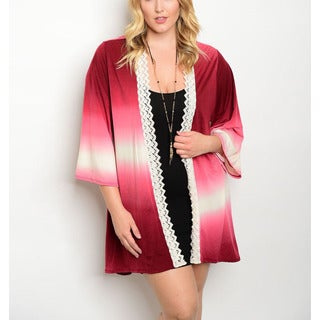JED Women's Wine/Charcoal Polyester/Spandex Plus Size Ombre Quarter-sleeve Lace Trim Open Cardigan