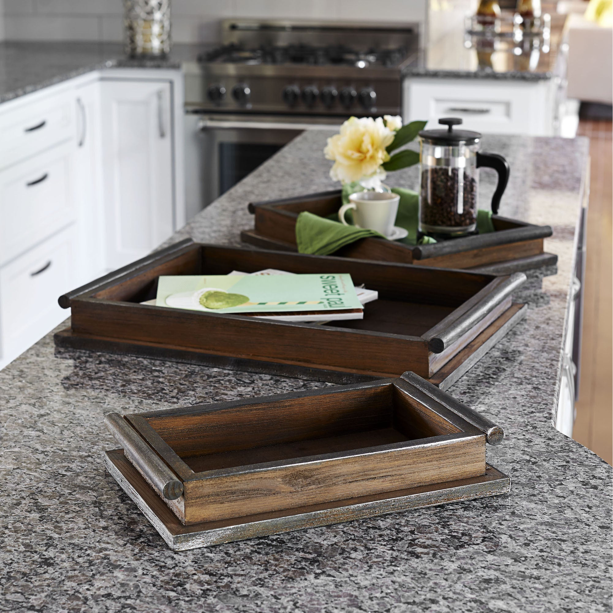 Household Essentials Brown Wood Rustc Tray Set (3 Pieces) (Rustic Wooden Tray, 3 pc Set)