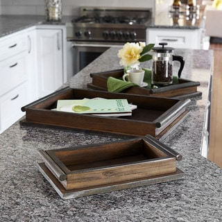 Household Essentials Brown Wood Rustc Tray Set (3 Pieces)