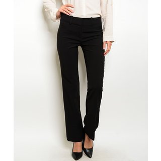 JED Women's Black/Grey Polyester/Rayon/Spandex Straight Leg Dressy Career Pants