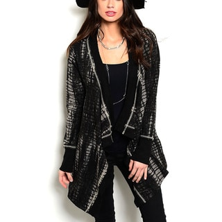 JED Women's Black Cotton-blended Asymmetric Cardigan Sweater