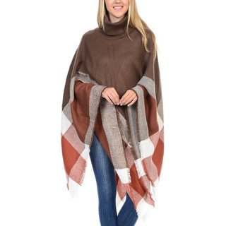 JED Women's Turtleneck Long Sweater Poncho (Option: Blue)