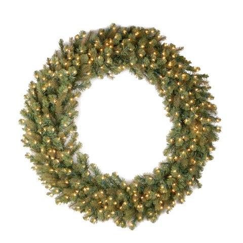 Green/Warm White LED Lights 60-inch Downswept Douglas Wreath