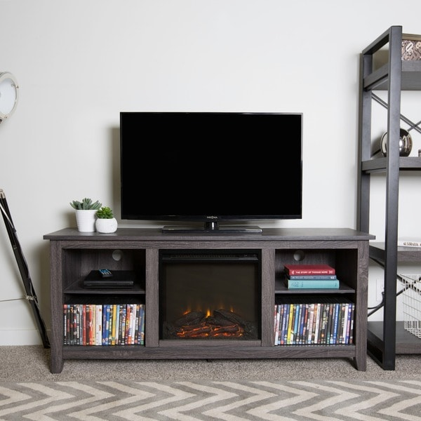 58-inch Charcoal Wood Fireplace TV Stand - Free Shipping ...