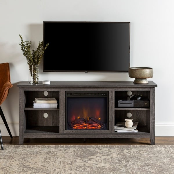 "58"" Fireplace TV Stand Console - Charcoal"