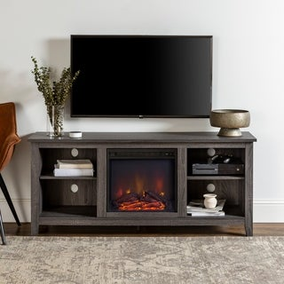 """58"""" Charcoal Wood Fireplace TV Stand"""