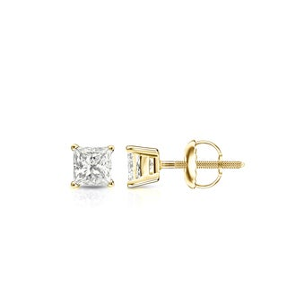 Auriya 14k Gold 1/3ct TDW Screw Back Princess-Cut Diamond Stud Earrings