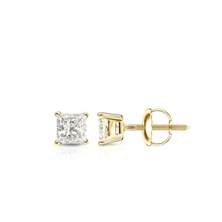 Auriya 14k Gold 1/3ct TDW 4-Prong Basket Screw-Back Princess-Cut Diamond Stud Earrings (J-K, I2-I3)