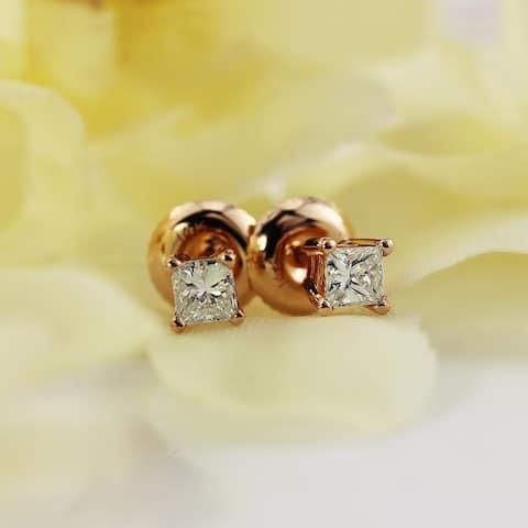 Auriya 14k Gold 1/3ct TDW Princess-Cut Solitaire Diamond Stud Earrings