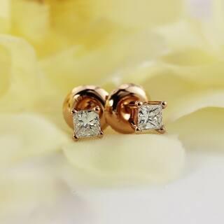 Auriya 14k Gold 1/3ct TDW Screw Back Princess-Cut Diamond Stud Earrings|https://ak1.ostkcdn.com/images/products/12803805/P19573692.jpg?impolicy=medium
