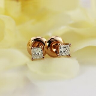 Auriya 14k Gold 1/3ct TDW Screw Back Princess-Cut Diamond Stud Earrings