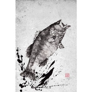 Marmont Hill - 'Black Bass Jump' by Dwight Hwang Painting Print on Wrapped Canvas