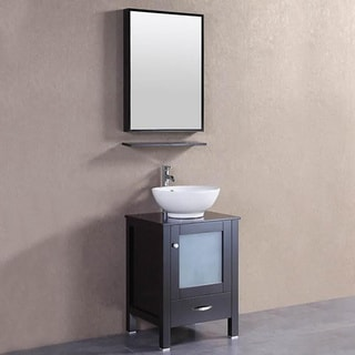 Belvedere Espresso Oak/Ceramic 22-inch Freestanding Bathroom Vanity and Vessel Sink