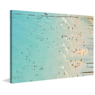 Marmont Hill - 'Fun at the Beach' Painting Print on Wrapped Canvas - Multi-color