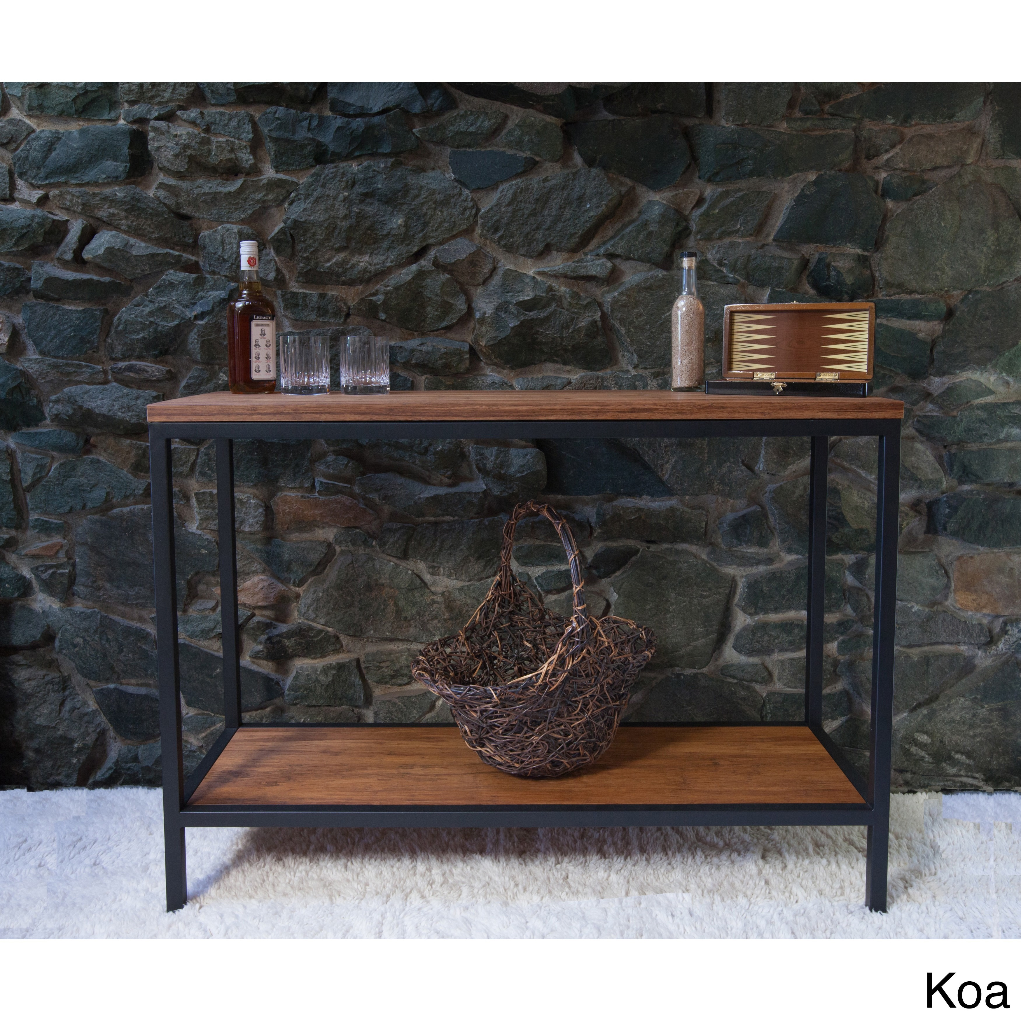 Bamboogle brooklyn loft collection brownblack woodmetal console advertisement geotapseo Choice Image