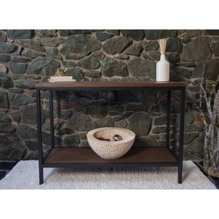 Bamboogle Brooklyn Loft Collection Brown/Black Wood/Metal Console Table