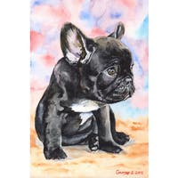 Marmont Hill - 'French Bulldog Puppy 2' by George Dyachenko Painting Print on Wrapped Canvas