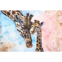 Marmont Hill - 'Giraffes Family' by George Dyachenko Painting Print on Wrapped Canvas - Multi-color